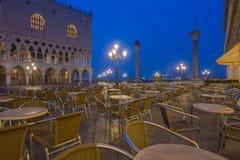Café veneciano en la salida del sol Foto de archivo