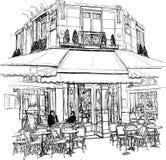 Café viejo en París stock de ilustración