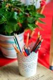 Café, wo Sie Farben zeichnen können Stockbild