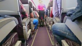 Café y almuerzo de la porción de la azafata a los pasajeros de la clase de economía durante vuelo almacen de metraje de vídeo