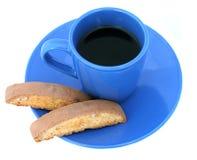 Café y Biscotti aislados Foto de archivo