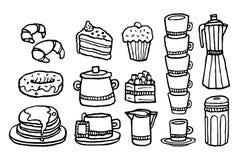 Café y comida dulce/sistema manuscrito de la materia del café Imagen de archivo libre de regalías