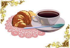 Café y cruasán imagenes de archivo
