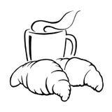 Café y cruasán calientes, vector libre illustration