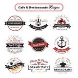 Café y diseño del vintage de los logotipos del restaurante stock de ilustración