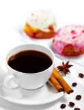 Café y dulces Fotografía de archivo libre de regalías