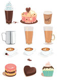Café y dulces fijados Imágenes de archivo libres de regalías