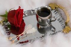 Café y flor Foto de archivo libre de regalías