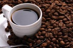 Café y grano de café de la taza Imagen de archivo libre de regalías