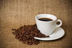 Café y habas Foto de archivo libre de regalías