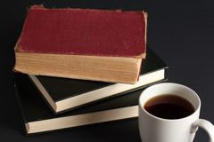 Café y libros Foto de archivo