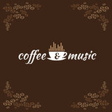 Café y logotipo de la música Fotos de archivo libres de regalías