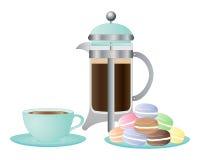Café y macarrones Imagen de archivo libre de regalías