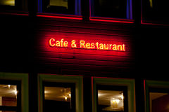 Café y neón del restaurante Fotos de archivo