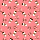 Café y panecillos Ejemplo plano del vector Fotos de archivo