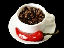 Café y pimienta roja Imagenes de archivo