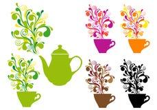 Café y té con remolinos del color, conjunto del vector ilustración del vector
