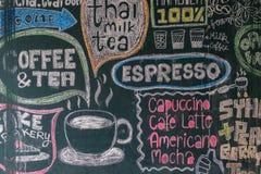Café y té del menú de la muestra Imagenes de archivo