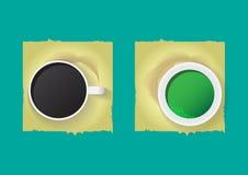 Café y té verde Foto de archivo libre de regalías