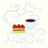 Café y torta ilustración del vector