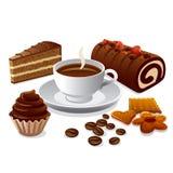 Café y tortas Foto de archivo libre de regalías