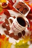 Café y tortas del otoño Fotos de archivo libres de regalías