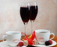 Café y vino rojo fotografía de archivo
