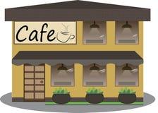 Cafégebäudefassade Design-Vektorillustration des Hintergrundes flache Lizenzfreie Stockfotos