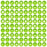 100 Caféikonen grün eingestellt Lizenzfreie Stockfotos