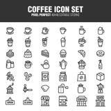 Caféikonensatz lizenzfreie abbildung