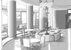 Caféinnenraum mit einem Brunnen Lizenzfreie Stockbilder