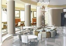 Caféinnenraum mit einem Brunnen Lizenzfreies Stockfoto