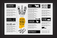 Cafémenü-Restaurantbroschüre Lebensmitteldesignschablone Lizenzfreies Stockbild