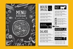 Cafémenü-Restaurantbroschüre Lebensmitteldesignschablone Lizenzfreie Stockfotos