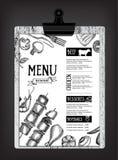 Cafémenü-Restaurantbroschüre Lebensmitteldesignschablone Stockfotos