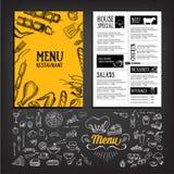 Cafémenü-Restaurantbroschüre Lebensmitteldesignschablone Lizenzfreie Stockbilder