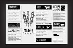 Cafémenü-Restaurantbroschüre Lebensmitteldesignschablone Stockfotografie
