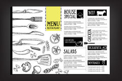Cafémenü-Restaurantbroschüre Lebensmitteldesignschablone Stockbild