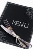 Cafémenürestaurant auf dem schwarzen Blatt mit einem weißen Hintergrund Stockfotos