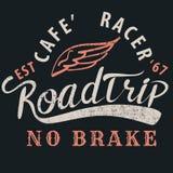 Caférennläufer roadtrip typografisch für T-Shirt, T-Stück Design, Plakat, VE stock abbildung