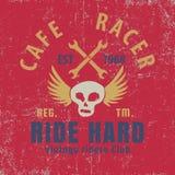 Caférennläufer typografisch mit dem geflügelten Schädel, Grafik für für T-Shirt, Vektorillustration stock abbildung