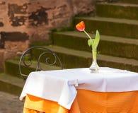 Caférestauranttabelle und -stuhl draußen Lizenzfreie Stockfotografie
