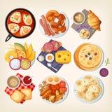 Cafés da manhã tradicionais pelo mundo inteiro ilustração stock