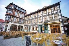 Cafés em Wernigerode foto de stock