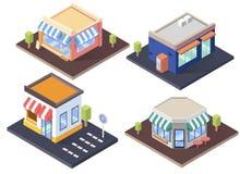 Cafés, tienda y supermercado isométricos con los toldos Sistema plano del ejemplo del vector Imagenes de archivo