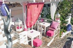 Cafétéria grec de Raditional sur l'île de Sifnos, Grèce photographie stock