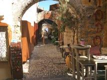 Café auf Rhodes Old Town, Griechenland Stockbild