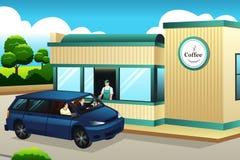 Café de compra dos povos no Movimentação-através da cafetaria Fotos de Stock Royalty Free
