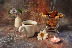 Caf? de la ma?ana a toda prisa: una taza de caf?, de flores en un florero, de frutas secadas y de dulces en un florero, una vela  fotos de archivo libres de regalías