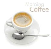Café de matin de cuvette avec la cuillère Image libre de droits